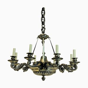 Antique Bronze and Silver 6-Arm Chandelier