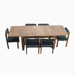 Mid-Century Rosewood Dining Table & Chairs by Gunther Hoffstead for Uniflex, Set of 7