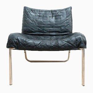 Mid-Century Modern Swedish Leather and Chrome Armchair