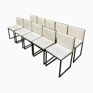 Chrome and White Leather Armchairs from Poltrona Frau, 1970s, Set of 10