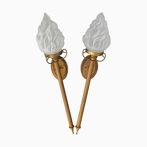 French Flame Glass Shade Torchiere Wall Lights, 1920s, Set of 2