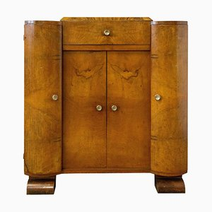 Art Deco Hifi Bar Cocktail Cabinet in Burr Walnut, France, 1930s
