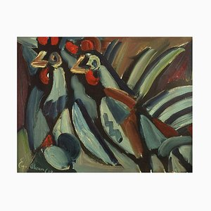 Two Roosters Oil on Canvas by Eyvind Olesen, Denmark, 1967