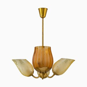 Swedish Modern Chandelier in Brass and Glass from Glössner, 1940s