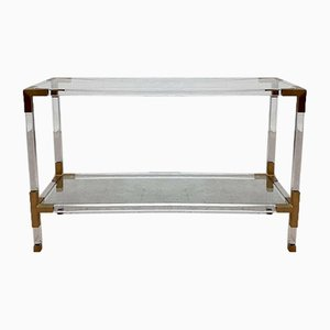 Mid-Century Lucite and Brass Console Hallway Table from Maison Jansen