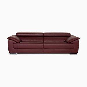 Dark Red Leather 3-Seat Sofa from Ewald Schillig