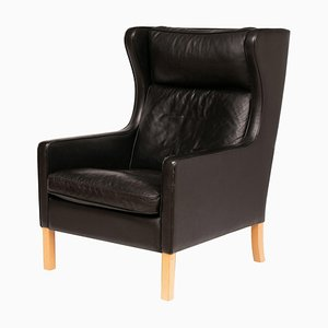 Danish Black Leather Wing Chair from Stouby, 1970s