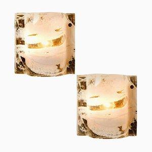 Applique in vetro di Murano e ottone di JT Kalmar, anni '60, set di 2
