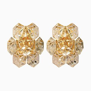 Faceted Crystal and Gilt Sconces from Kinkeldey, Germany, 1960s, Set of 2