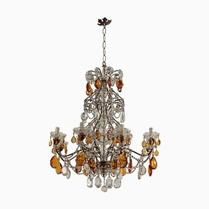 Italian Iron and Glass Chandelier, 1900s