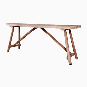 French Scrubbed Trestle Table, 1880s