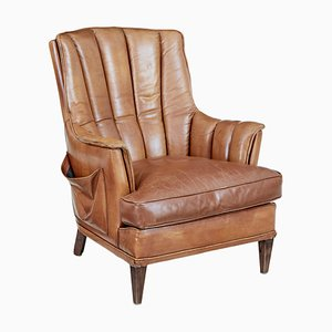 Mid-Century Leather Shell Back Lounge Chair