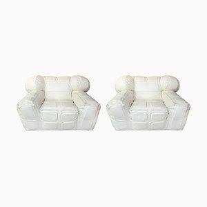 Vintage Pair of White Leather Armchairs, by Arik Ben Simhon, 2002