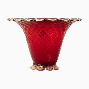 Rote Italienische Vintage Vase von Ferro & Lazzarini, 1940er