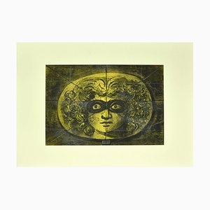 Eugene Berman, Medusa Mask, 1972, Black China Ink, Pencil and Watercolor Drawing