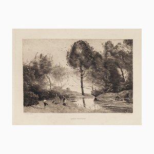 Jean-Baptiste Corot, Danse Rustique, 19ème Siècle, Gravure Originale