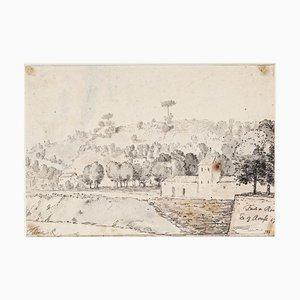 Jan Peter Verdussen, Rome/Tevere, 1781, Original Pencil and Watercolor Drawing