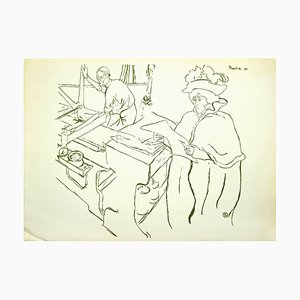 Henri de Toulouse-Lautrec, Jane Avril Watching the Father While Printing, 20th Century, Lithograph