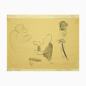 Flor David, Le Manteau, 1952, Schwarze Originaltinte in Schwarz und Bleistiftzeichnung