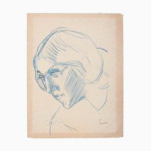 Portrait of Woman, Original Blue Pastel on Cardboard, 20th century