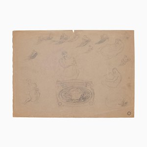 Sketch of Nude, Pencil on Brownish Paper, 20th Century