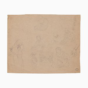 Figures, Pencil on Brownish Paper, 20th Century