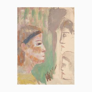 Caroline Hill, Profile, Original Mischtechnik auf Karton, Mitte 20. Jahrhundert