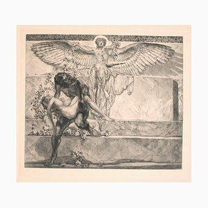 Franz von Bayros (Choisi Le Conin), Farewell From Paradise, 20th Century, Vintage Héliogravure