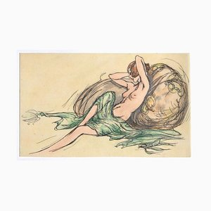 Nude, Original Ink and Watercolor on Paper, 20th Century