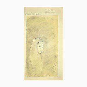 Flor David, Robe Devant, 1952, Original Black China Ink and Pencil Drawing