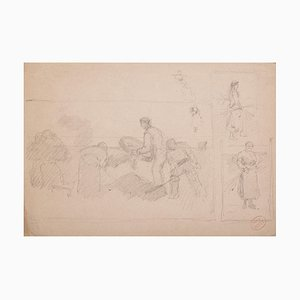 Reapers, Original Pencil on Paper, 20th Century