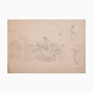 Schnitzer, Original Bleistift auf Papier, 20. Jahrhundert
