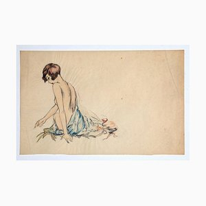 Nude, Original Ink and Pastel on Paper, 20th Century