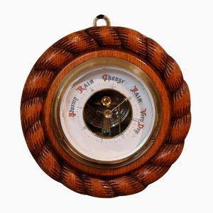 Small Antique Oak Rope Twist Aneroid Barometer