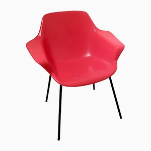 Red Molded Fiberglass & Enameled Metal Vampire Chair by Pierre Guariche for Steiner, 1954