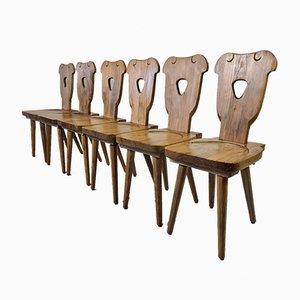 Brutalistische Schwedische Kiefernholz Stühle mit Acht Konischen Beinen, 1960er, 6er Set