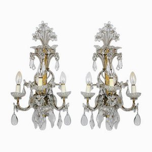 Vintage Gilded Iron Chandelier & 2 Crystal Wall Sconces, Set of 3