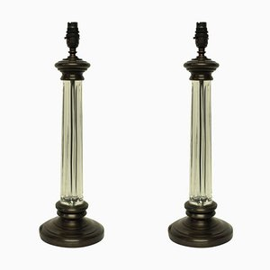 English Glass Column Table Lamps, 1960s, Set of 2