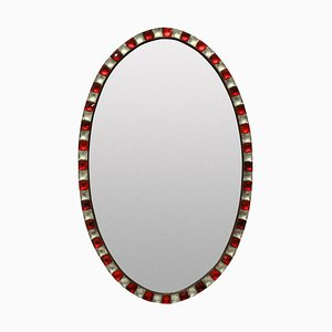Vintage Irish Georgian Style Mirror with Rock Crystal and Ruby Glass