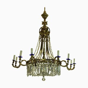 Large Antique Regency Style Gilt Bronze and Cut Glass Chandelier