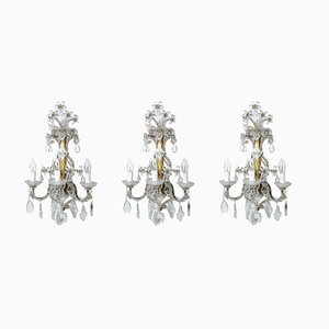 Vintage Sconces with Iron & Gilded Crystal, Set of 3