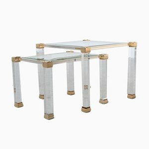 Lucite and Brass Nesting Tables by Pierre Vandel, 1970s, Set of 2