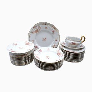 Antique Porcelain Tableware Set from Limoges, Set of 32