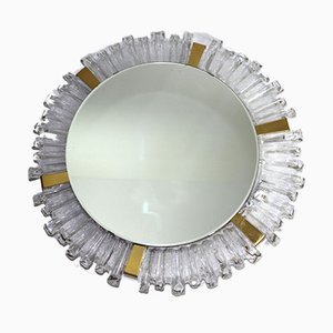 Illuminated Crystal Glass Framed Mirror from Stölzle, 1960s