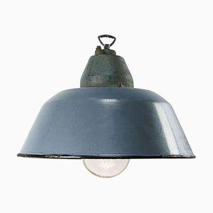 Lampe à Suspension Industrielle Vintage en Verre Bleu Ciel Émaillé Gris Bleu