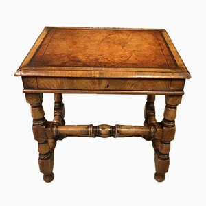 Antique Edwardian Walnut and Leather Side Table