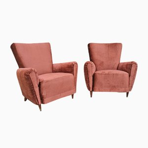 Italian Velvet Armchairs by Ico Luisa Parisi, 1950s, Set of 2