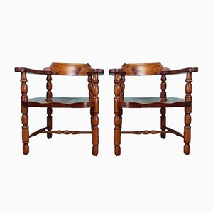 Italian Pine Elbow Chairs from De Baggis, 1960s, Set of 2