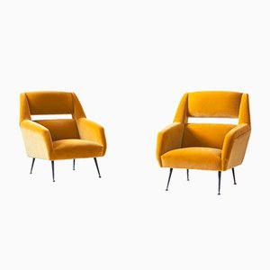 Italian Senape Yellow Velvet Lounge Chairs by Gigi Radice, 1950s, Set of 2