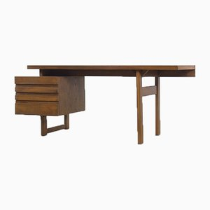 Brutalist Geometrical Scandinavian Oak Desk with Drawers, 1950s